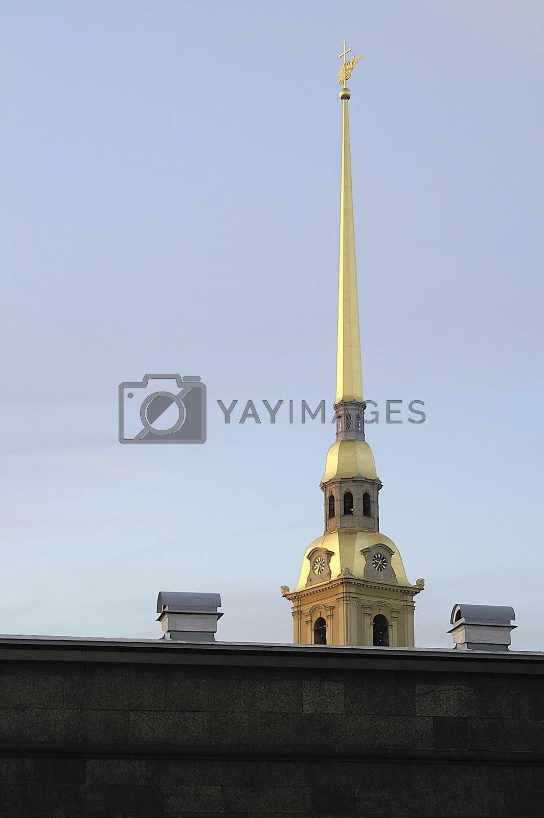 Peter & Paul Fortress Wall and Cathedral in Saint Petersburg, Russia.