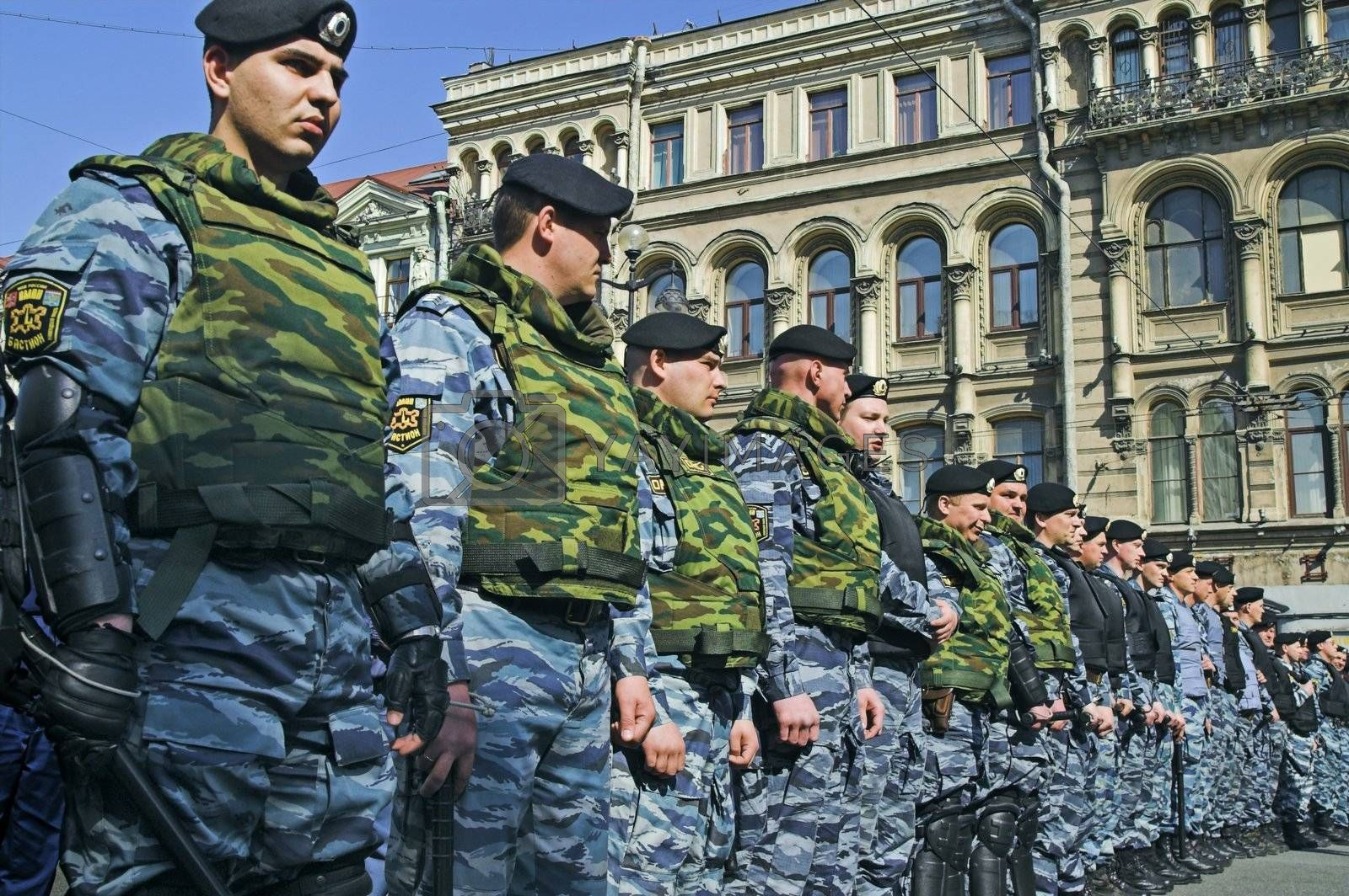 ST PETERSBURG - MAY 1: Police officers lined to keep order during opposition protest rallies May 1, 2008, in St Petersburg, Russia.