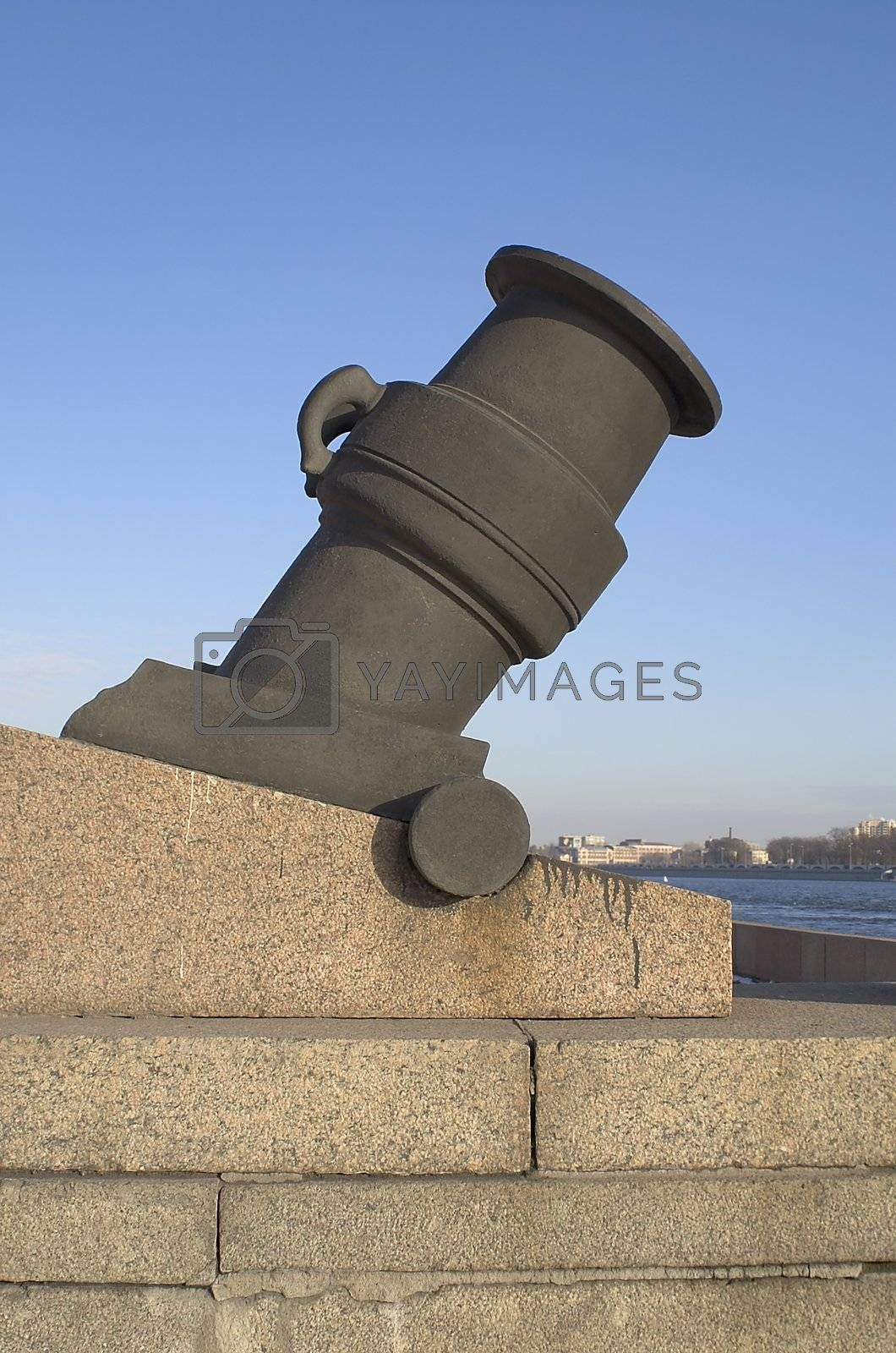 Cannon at Arsenal Embankment in Saint Petersburg, Russia.