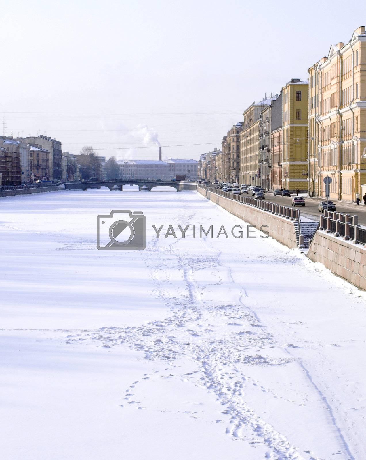 Fontanka embankment near the Obukhovsky bridge in Saint Petersburg, Russia.