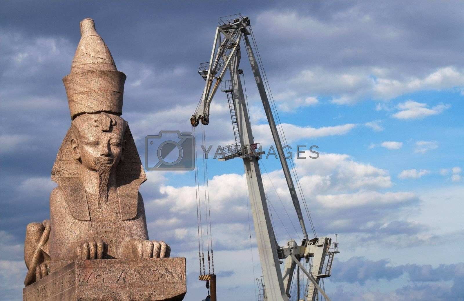 One of two counter-facing Egyptian Sphinxes on the Schmidt's Embankment in Saint Petersburg, Russia. These ancient sphinxes are about 3200 years old and were found in 1820 in Thebes, Egypt. Then they were sold by the French government to Russia for 64 000 roubles and brought to Saint Petersburg.