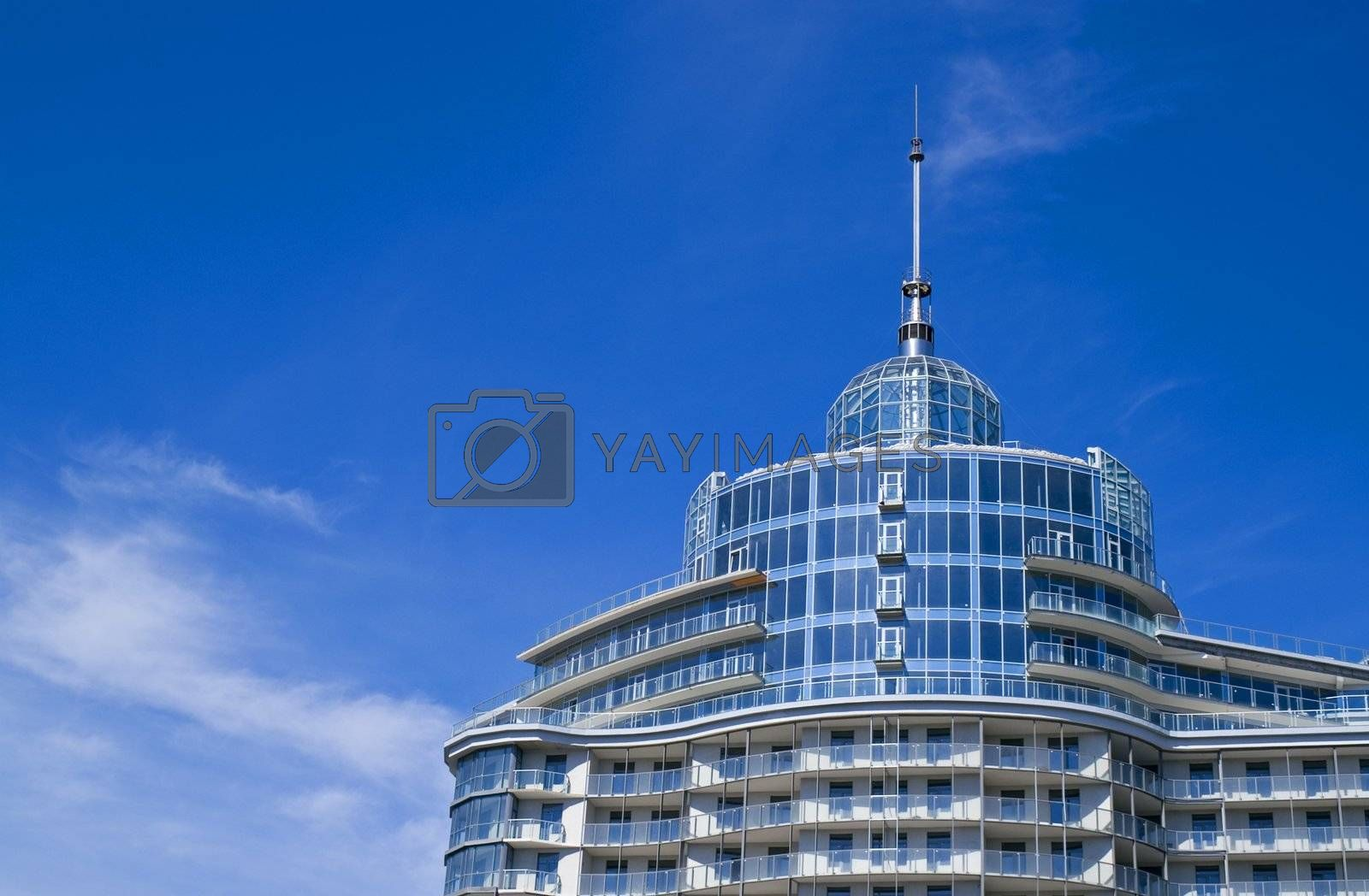The top of a new building of a hotel or business center.