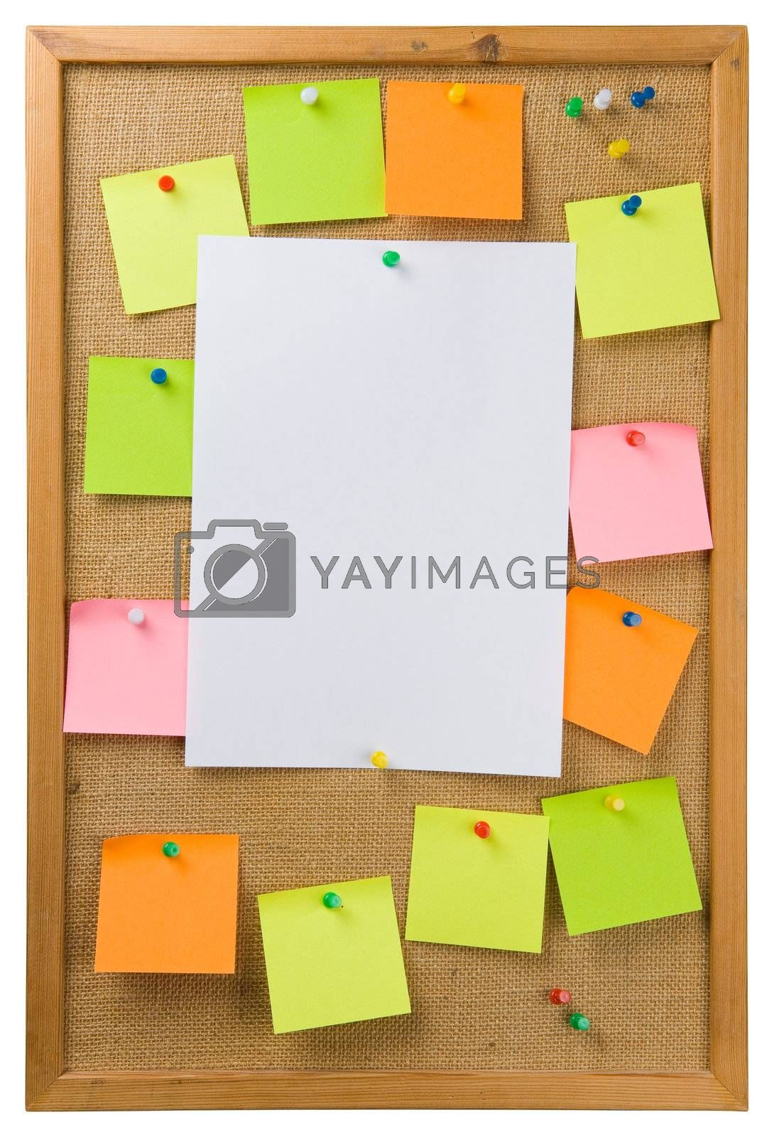 Sticky notes and sheet of paper attached to a noticeboard