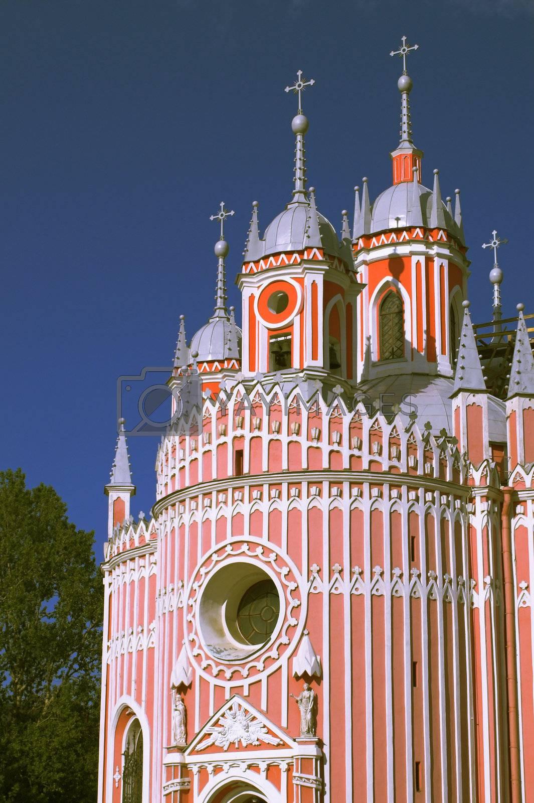 The Chesmenn Church in Saint Petersburg, Russia. English-style Gothic.