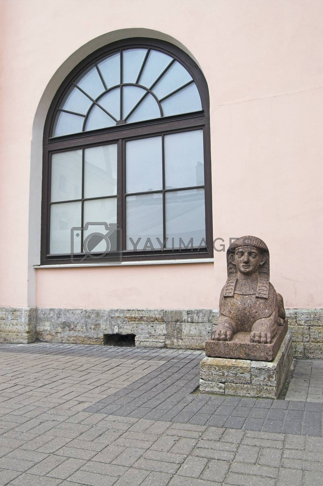 An Egyptian Sphinx at a backyard entrance of Stroganoff's Palace, an old-time building, in Saint Petersburg, Russia.