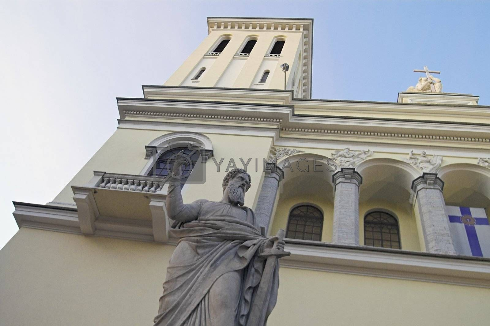 Saint Peter's Sculpture at the front of the German Evangelic Lutheran Church in Saint Petersburg, Russia.