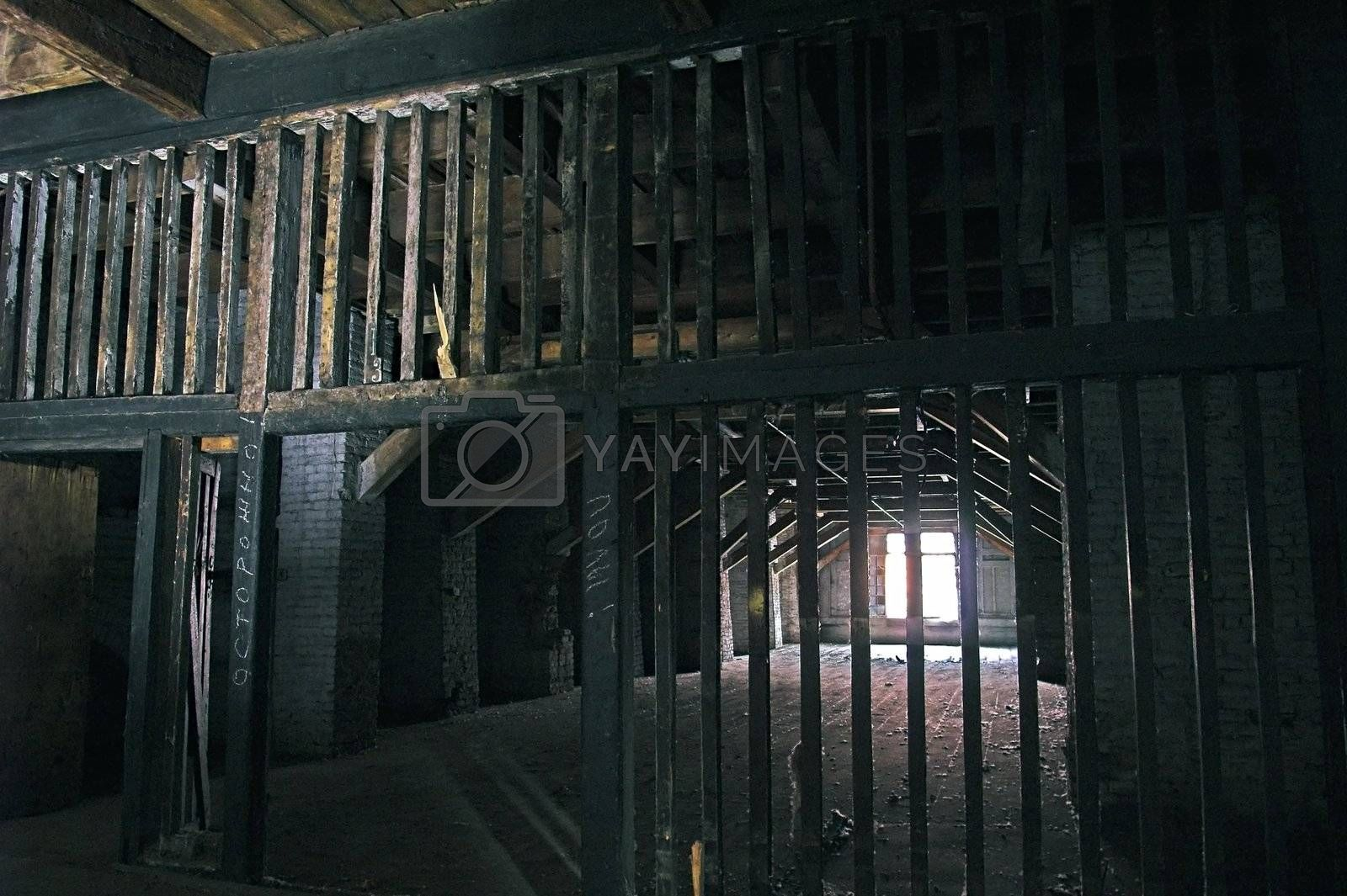 Abandoned Storehouse Building with Wooden Partitions.