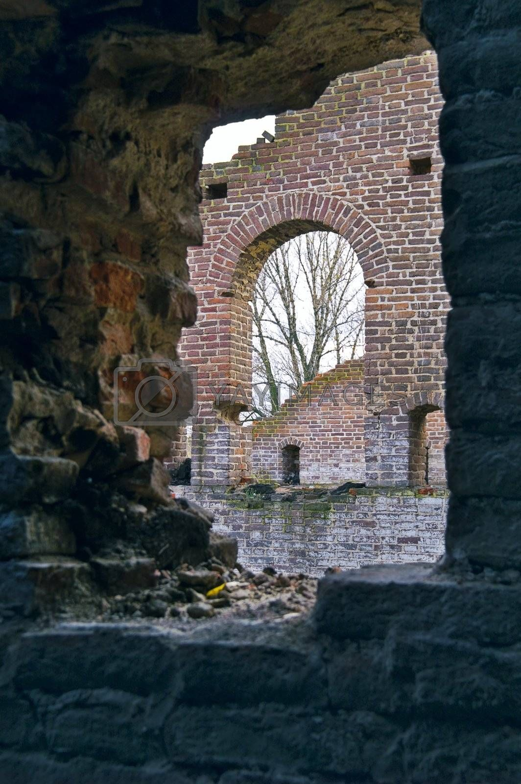 Ruins of Ancient Buildings on the New Holland Island in Saint Petersburg, Russia.