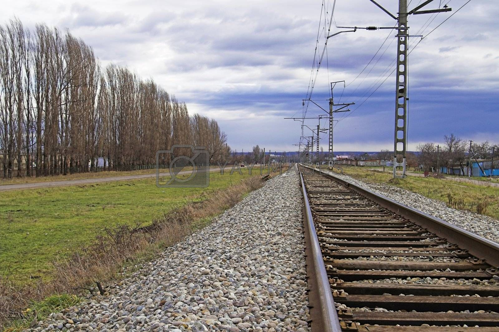 Railroad Embankment at Remote Area