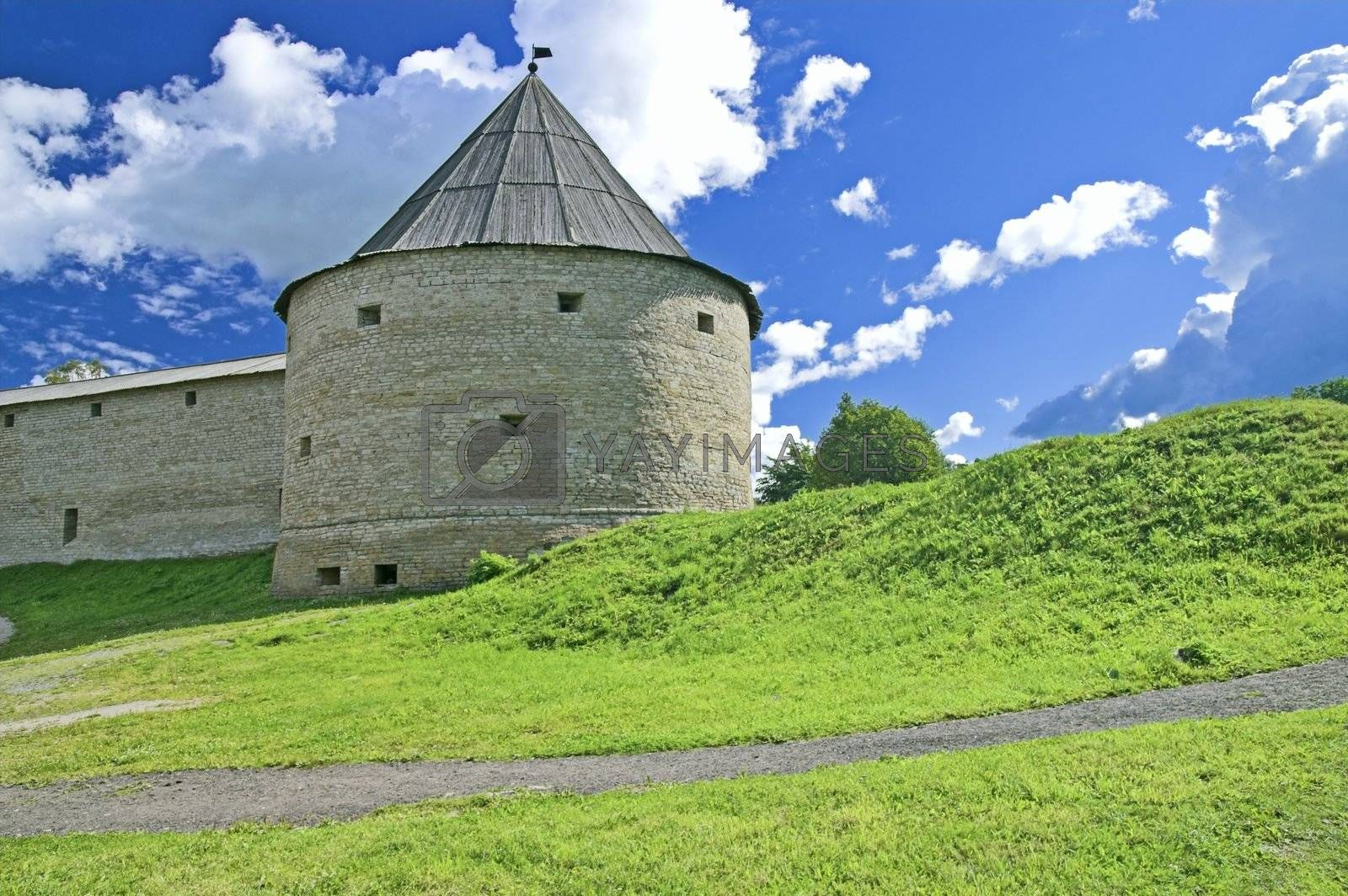 Fortress Tower in Ancient Russian Capital of Old Ladoga