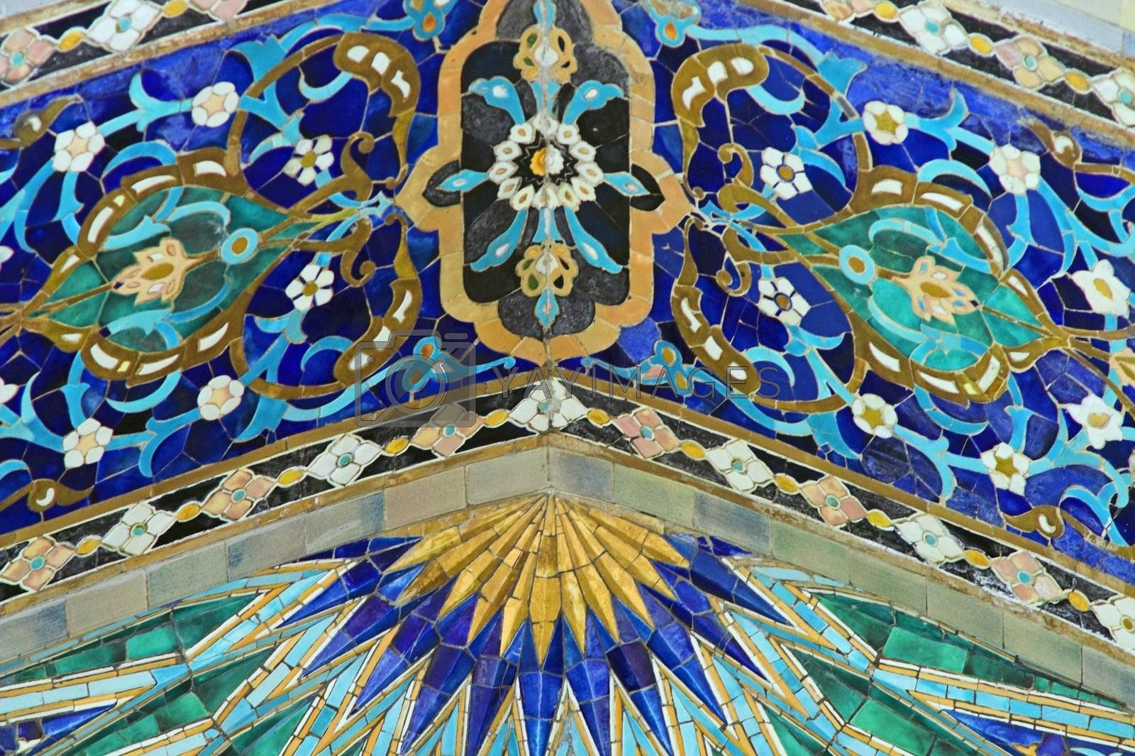 Fragment of tiled wall with Arabic mosaic of ancient mosque in Saint Petersburg, Russia.