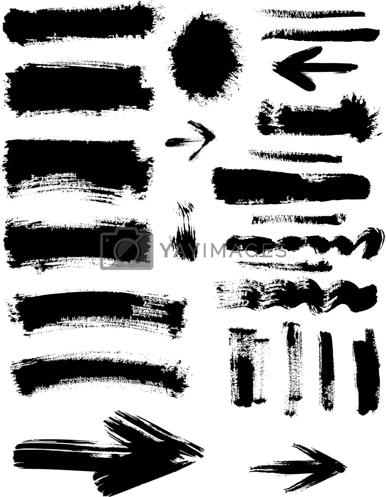 Grunge blots, spots, frame and arrows