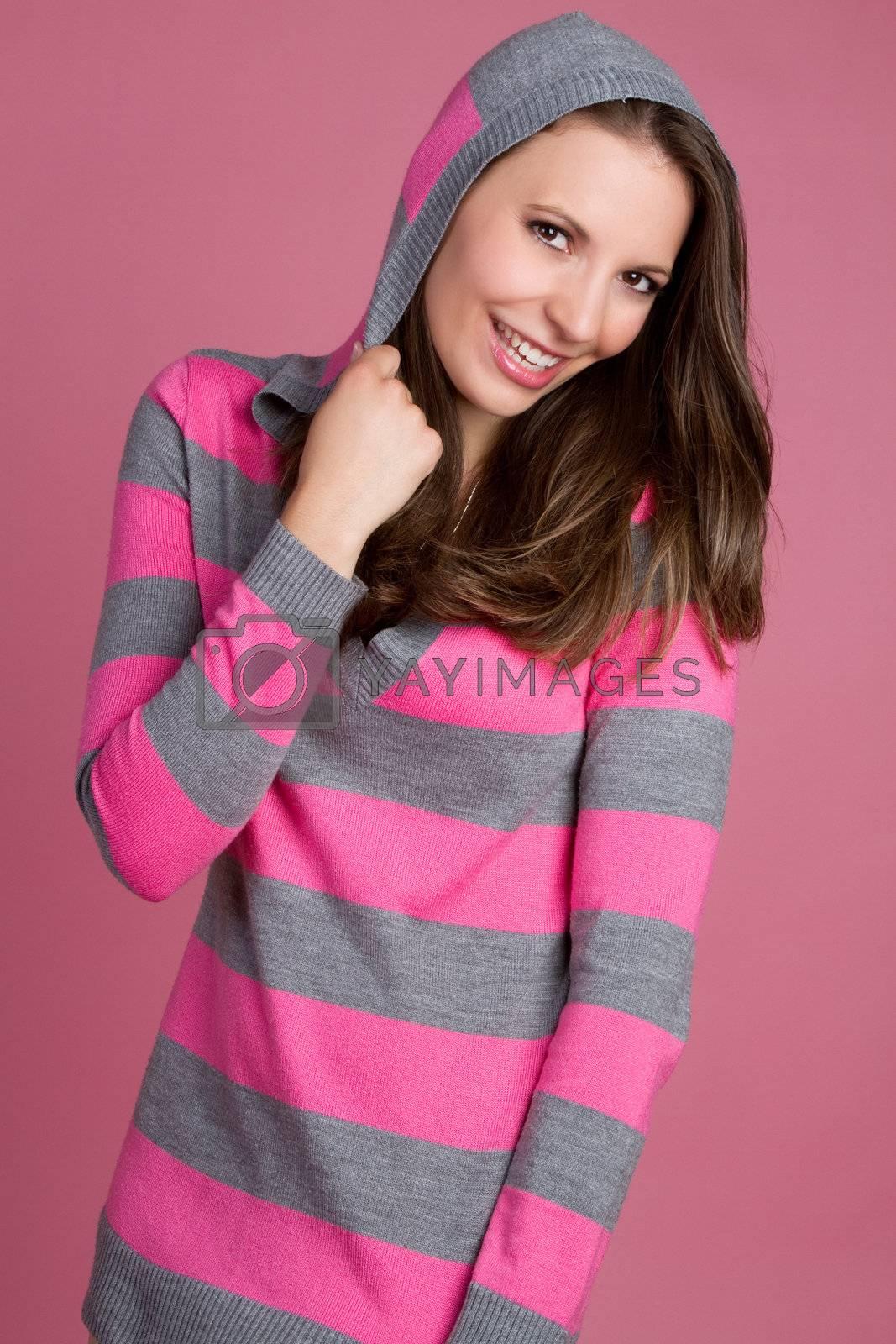 Beautiful smiling girl wearing pink