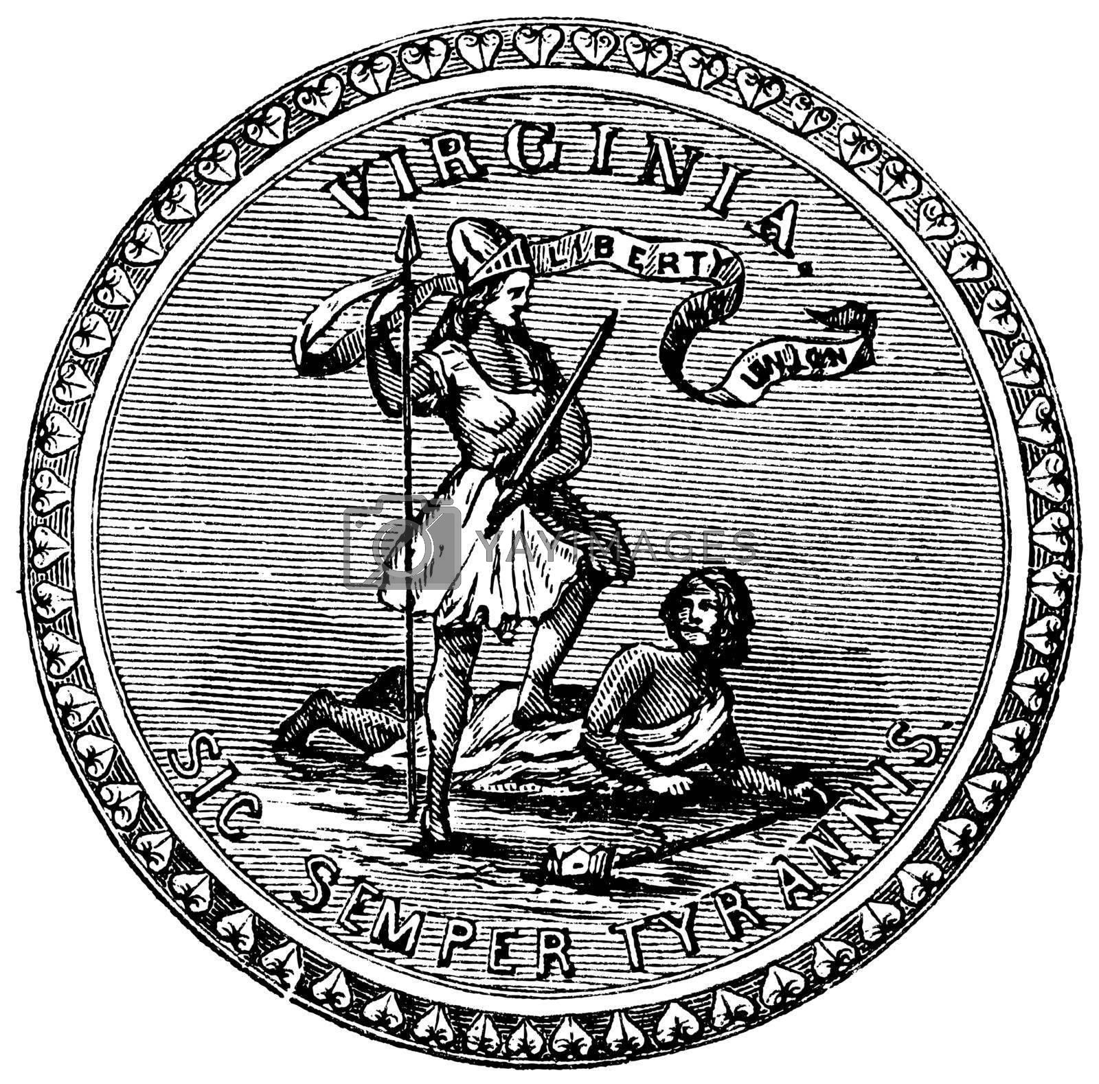 Seal of the State of Virginia, USA, vintage engraved illustration. Trousset encyclopedia (1886 - 1891).