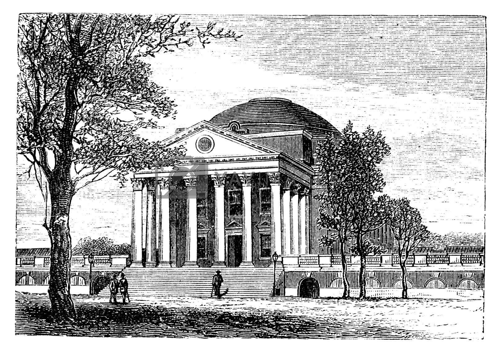 University of Virginia, in Charlottesville, Virginia, USA, showing the Rotunda building, vintage engraved illustration. Trousset encyclopedia (1886 - 1891).