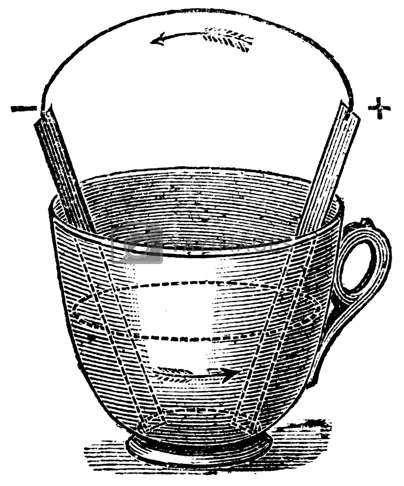 Simple Voltaic Pile, vintage engraved illustration. Trousset encyclopedia (1886 - 1891).