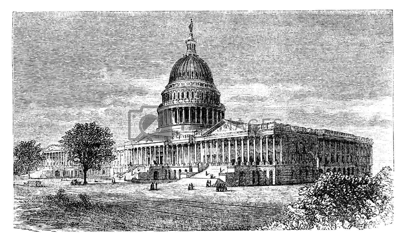 United States Capitol, in Washington, D.C., USA, vintage engraved illustration. Trousset encyclopedia (1886 - 1891).