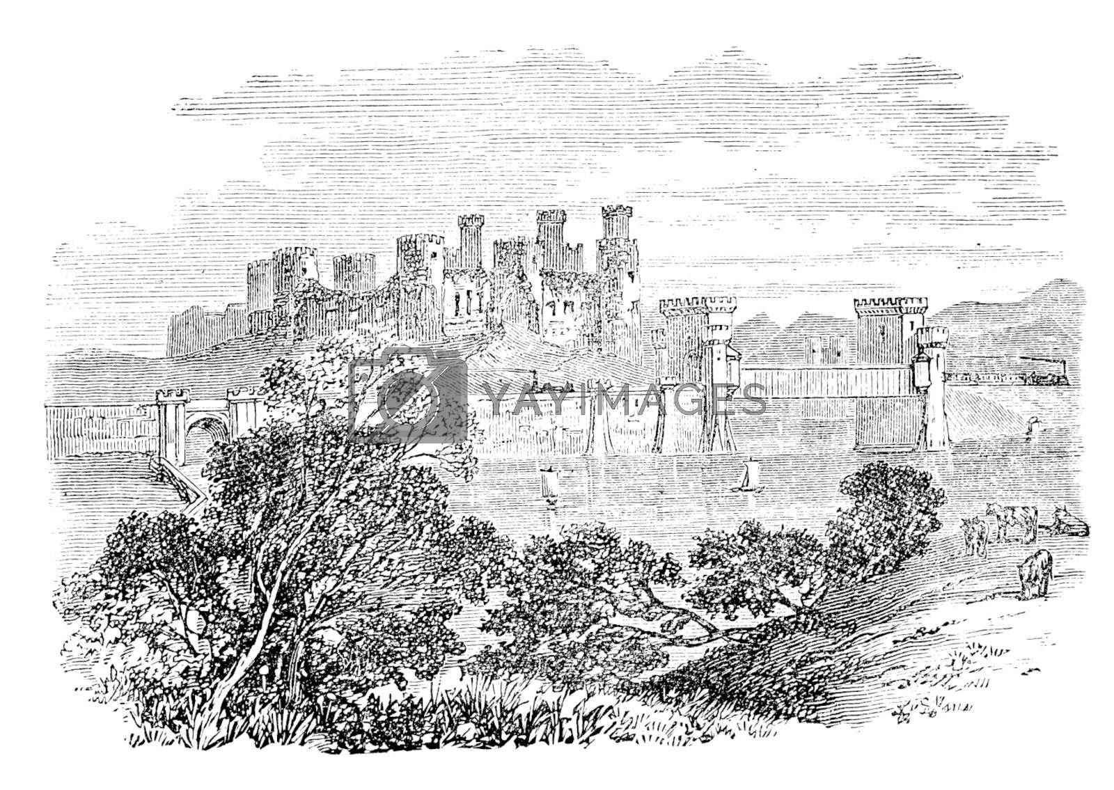 Old engraved illustration of Conway Castle, in North Wales. Build by King Edward between 1283 and 1289. Scan from Trousset Encyclopedia 1886 - 1891. Live trace vector.