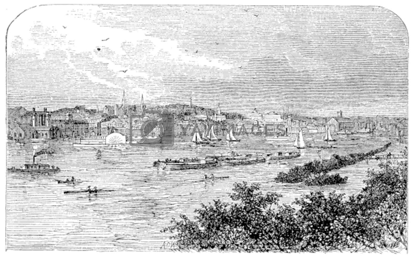 Albany, New York, in 1890. Capital city of New York state. Engraving. Vintage engraved illustration of the famous capital. Lively scenic engraving of the bay.