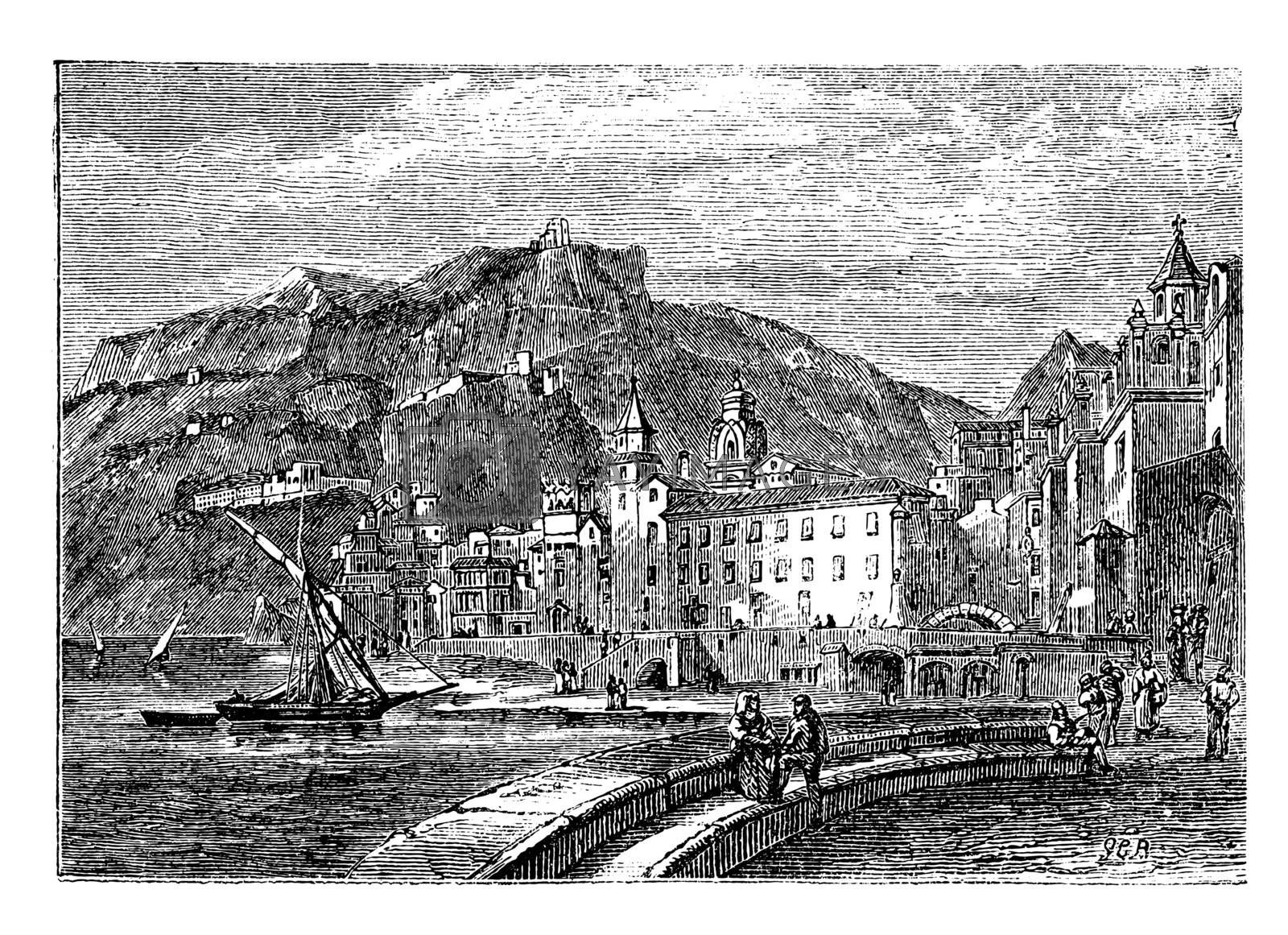 Amalfi in 1890, in the province of Salemo, Italy. Vintage engraving. City scenery of the town of Amalfi. Vector illustration.