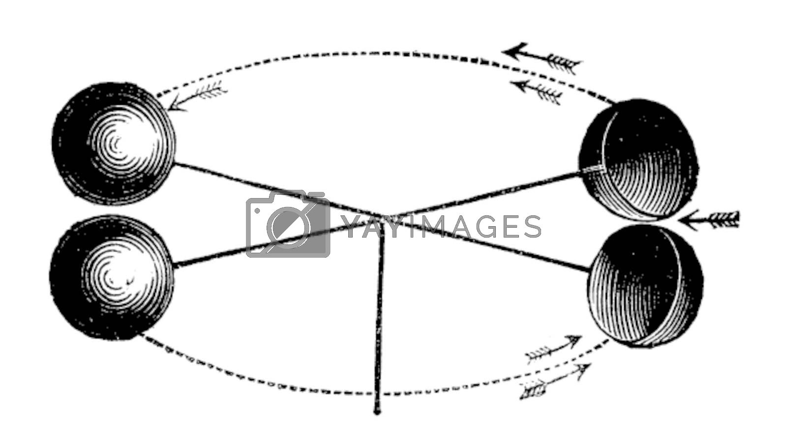 Robinson's anemometer or wind gauge vintage engraving. Old engraved illustration of the anemometer invented by John Thomas Romney Robinson in 1846. Vector illustration, isolated on white
