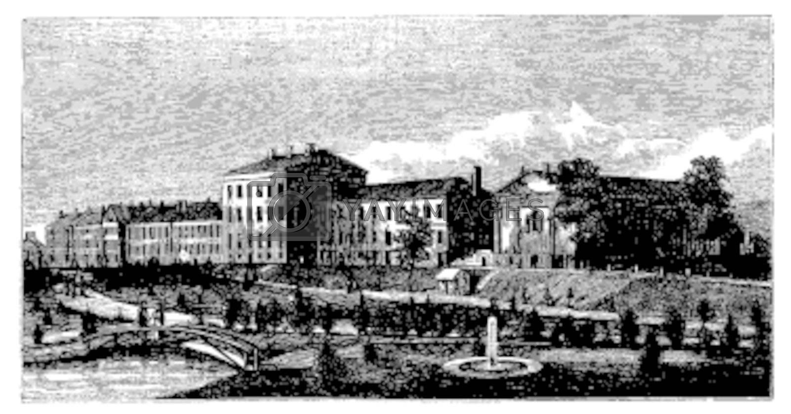 United States Naval Academy in Annapolis, Maryland, USA, vintage engraved illustration. Trousset encyclopedia (1886 - 1891).