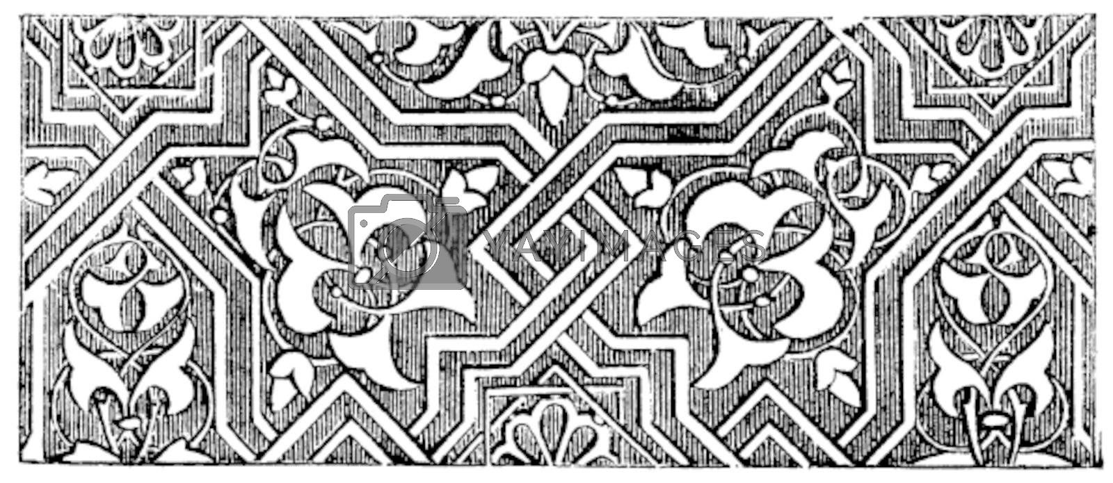 Islamic art or Arabesque. Vintage engraving. Old engraved illustration of Islamic art used consistently from about the 9th century onwards.