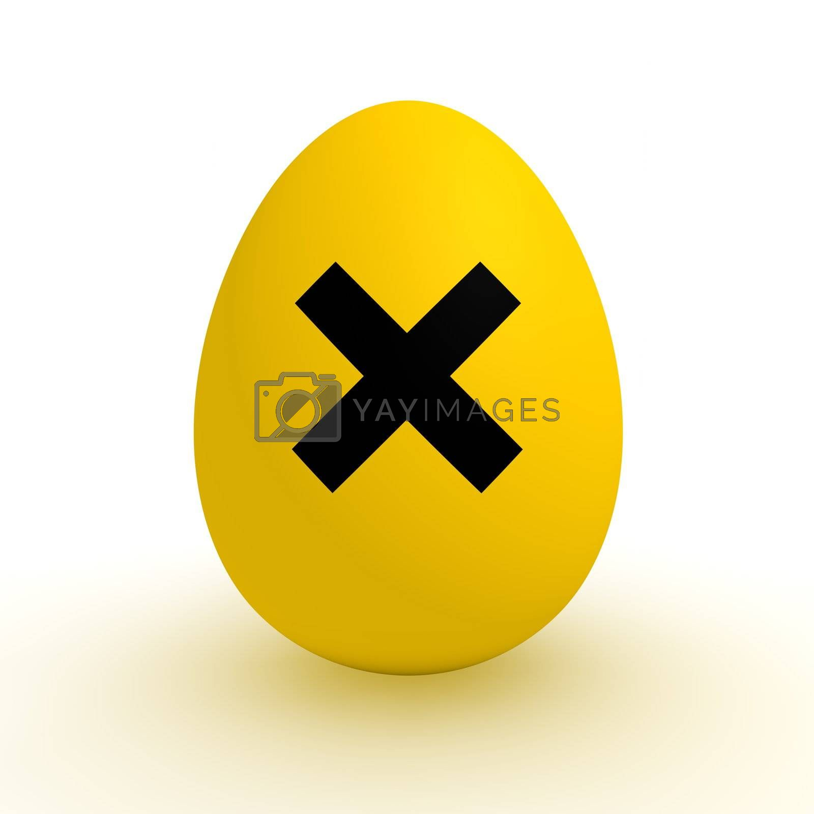 a single yellow egg with a black irritant warning sign on it - polluted food