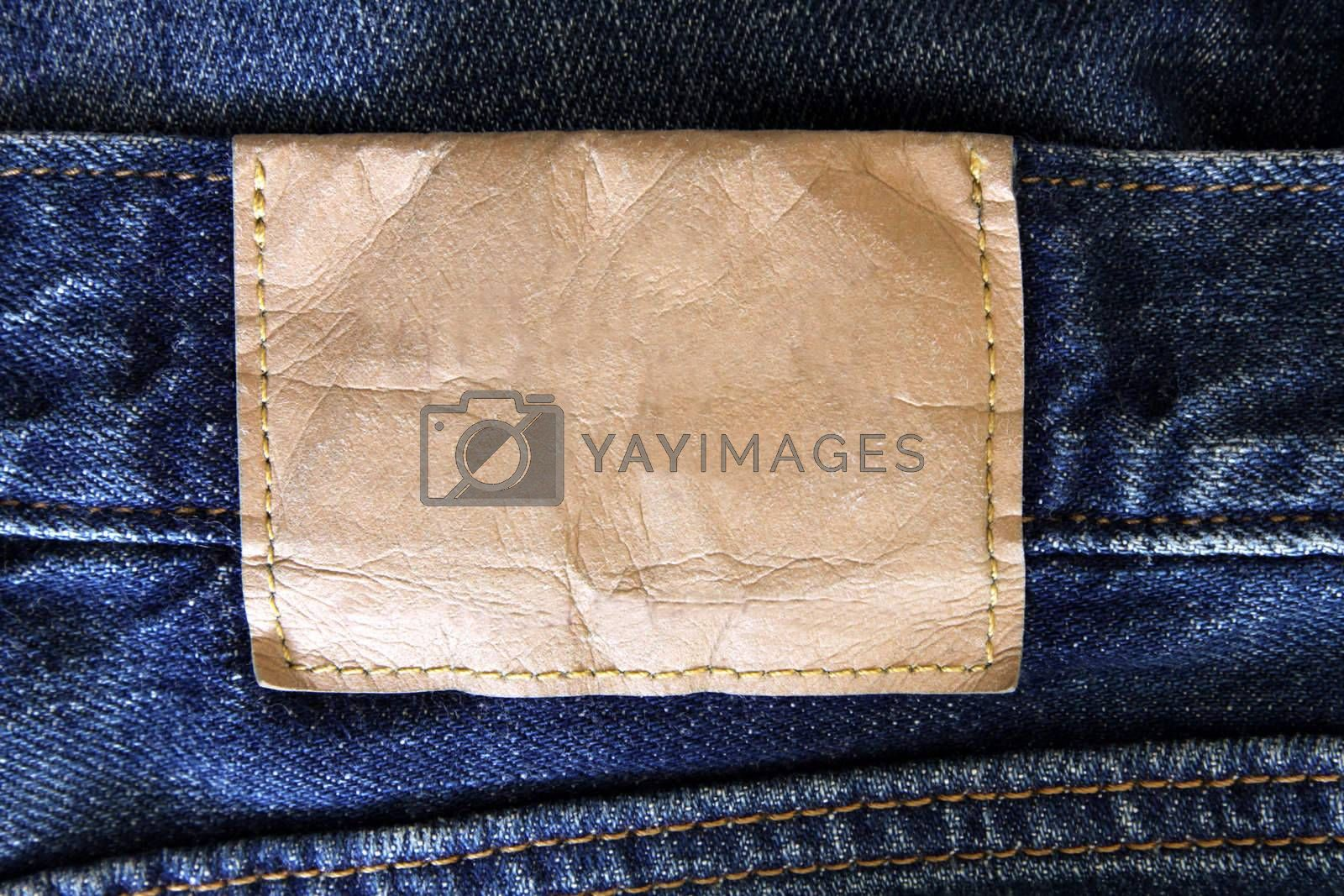 A blank label on a pair of jeans.