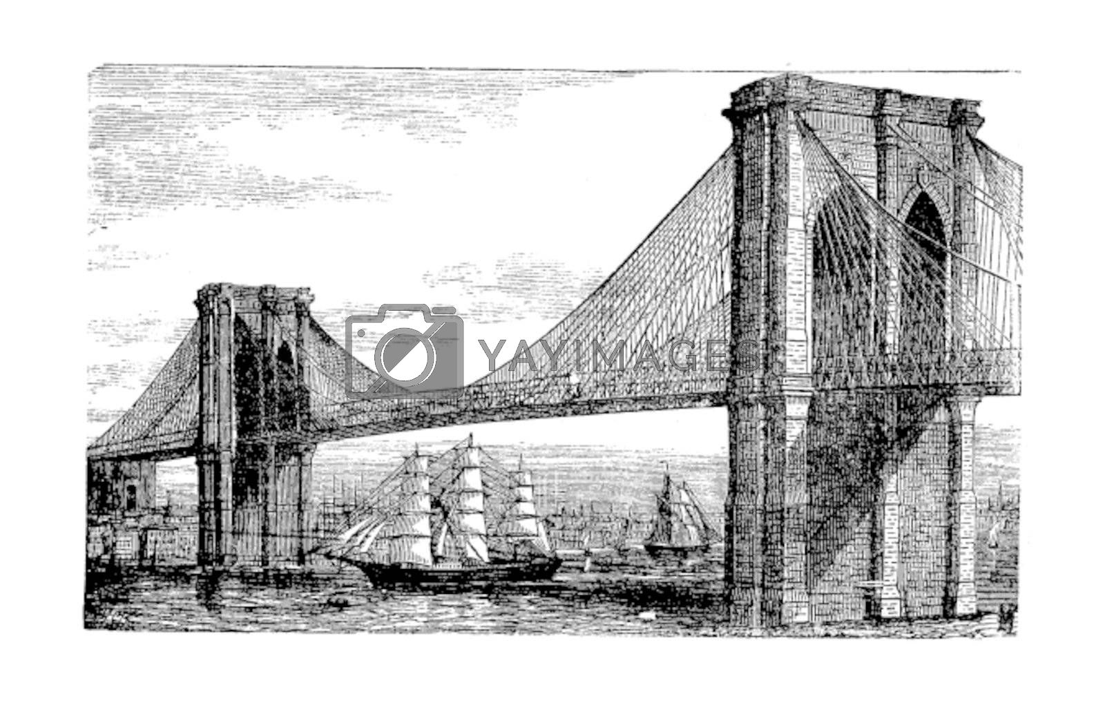 Illustration of Brooklyn Bridge and East River, New York, United by Morphart