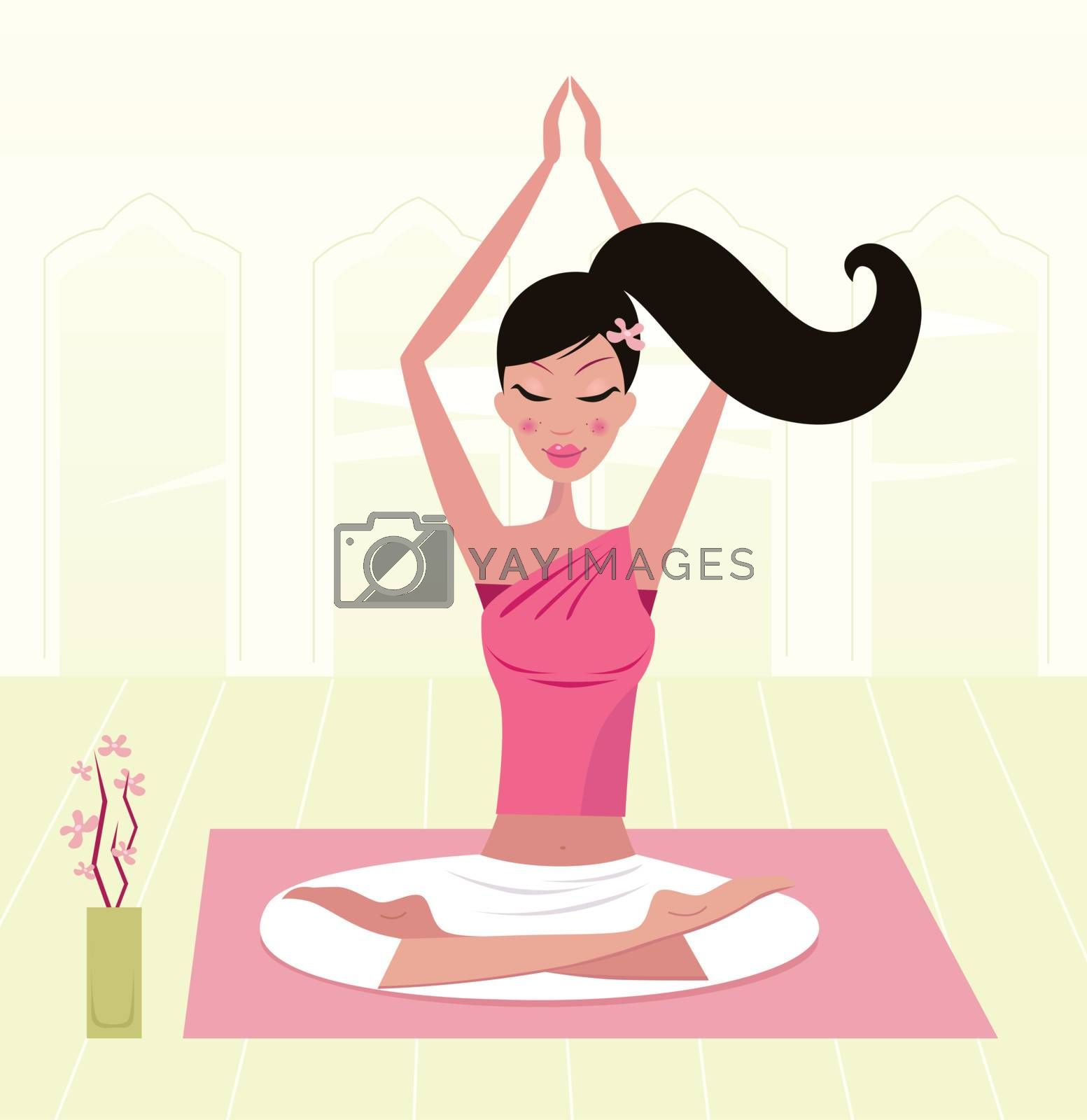 Girl having healthy lifestyle: relaxing woman in yoga lotus position. Vector Illustration.