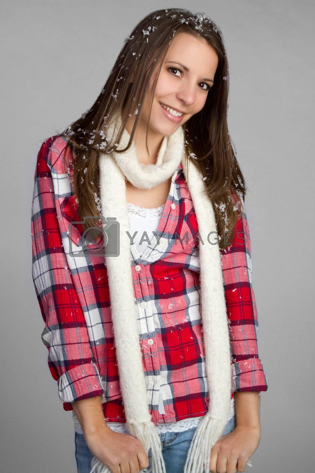Pretty winter teen girl smiling