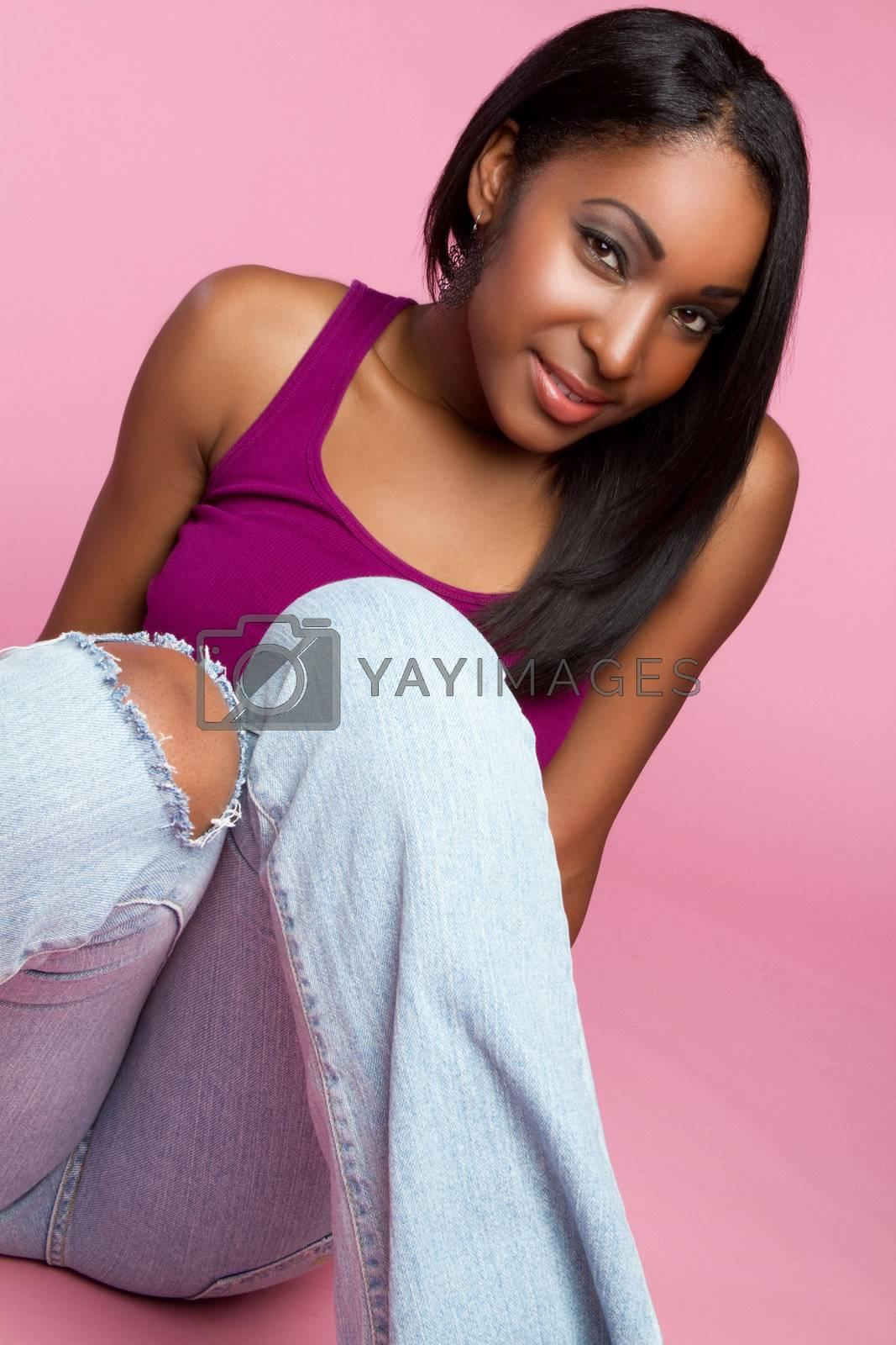 Beautiful smiling black teen girl
