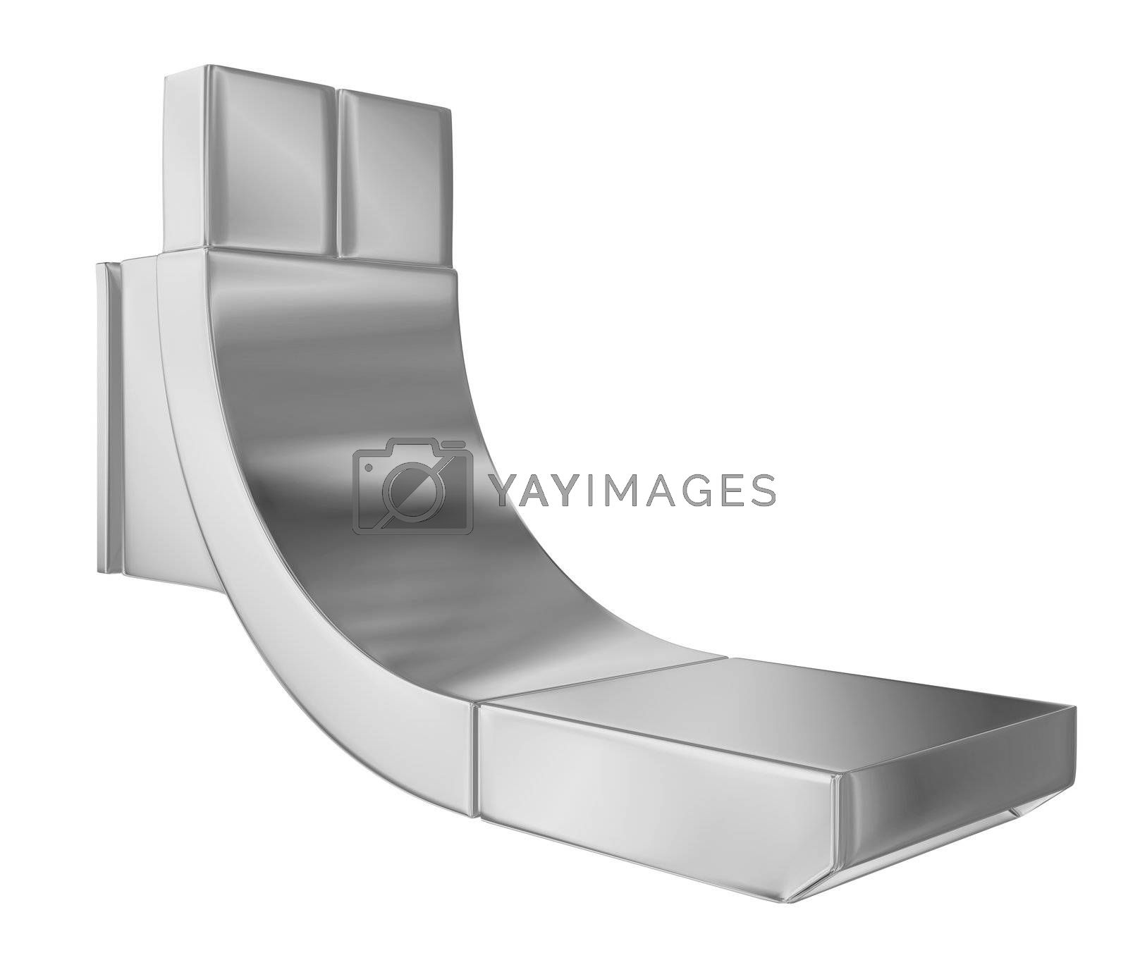 Modern faucet with chrome finishing, 3d illustration, isolated against a white background