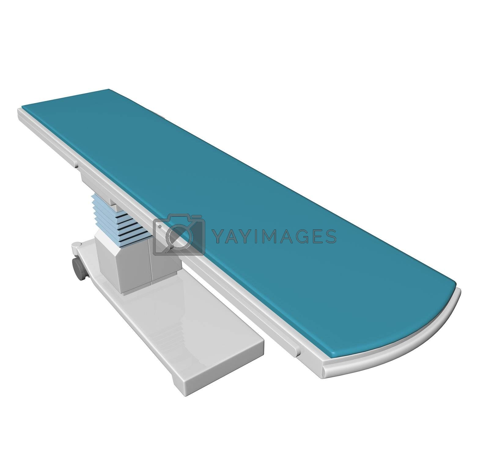 Adjustable height medical examination table or bed with blue padding, 3D illustration, isolated against a white background