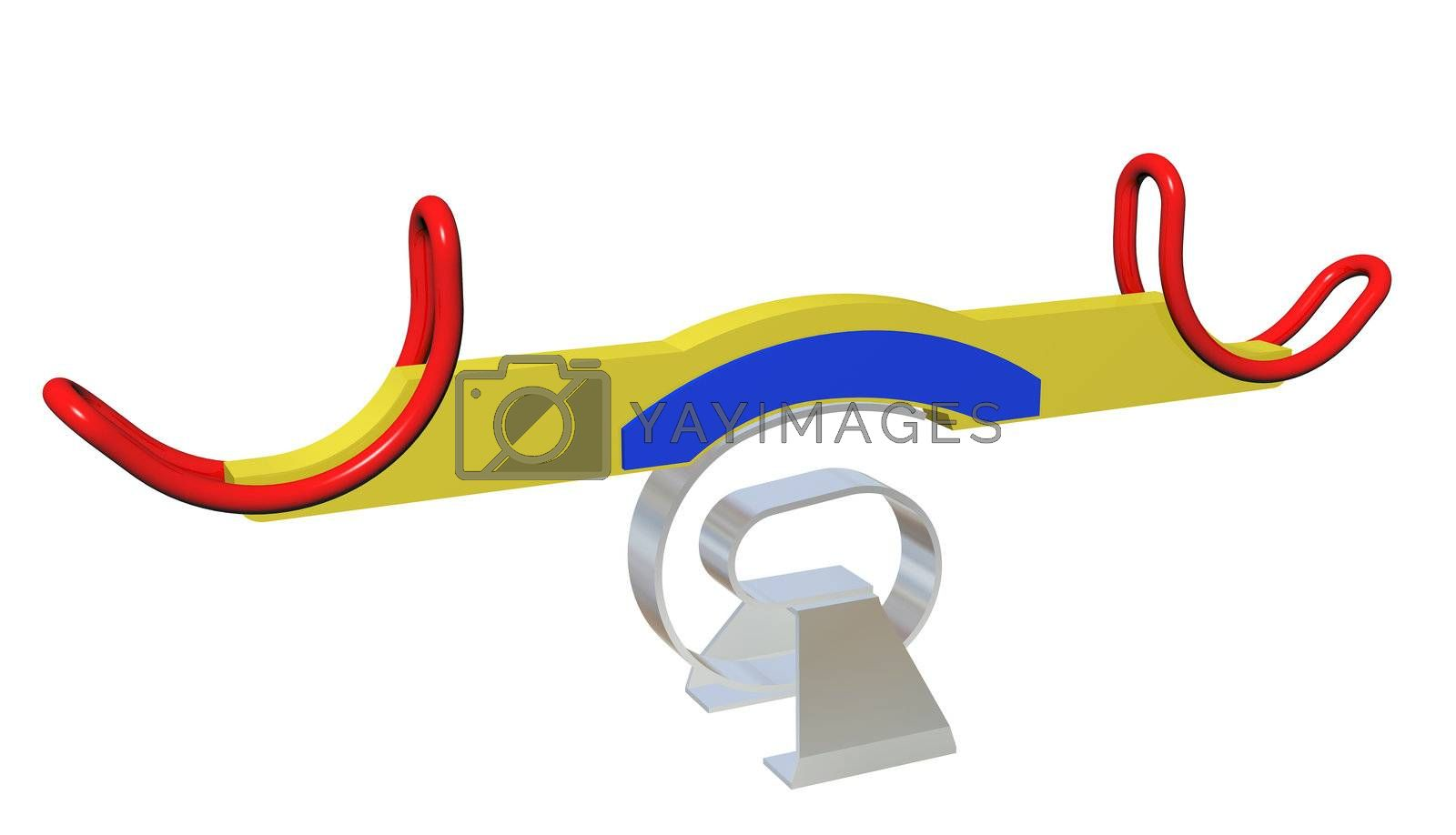 Modern colorful seesaw, 3d illustration, isolated against a white background