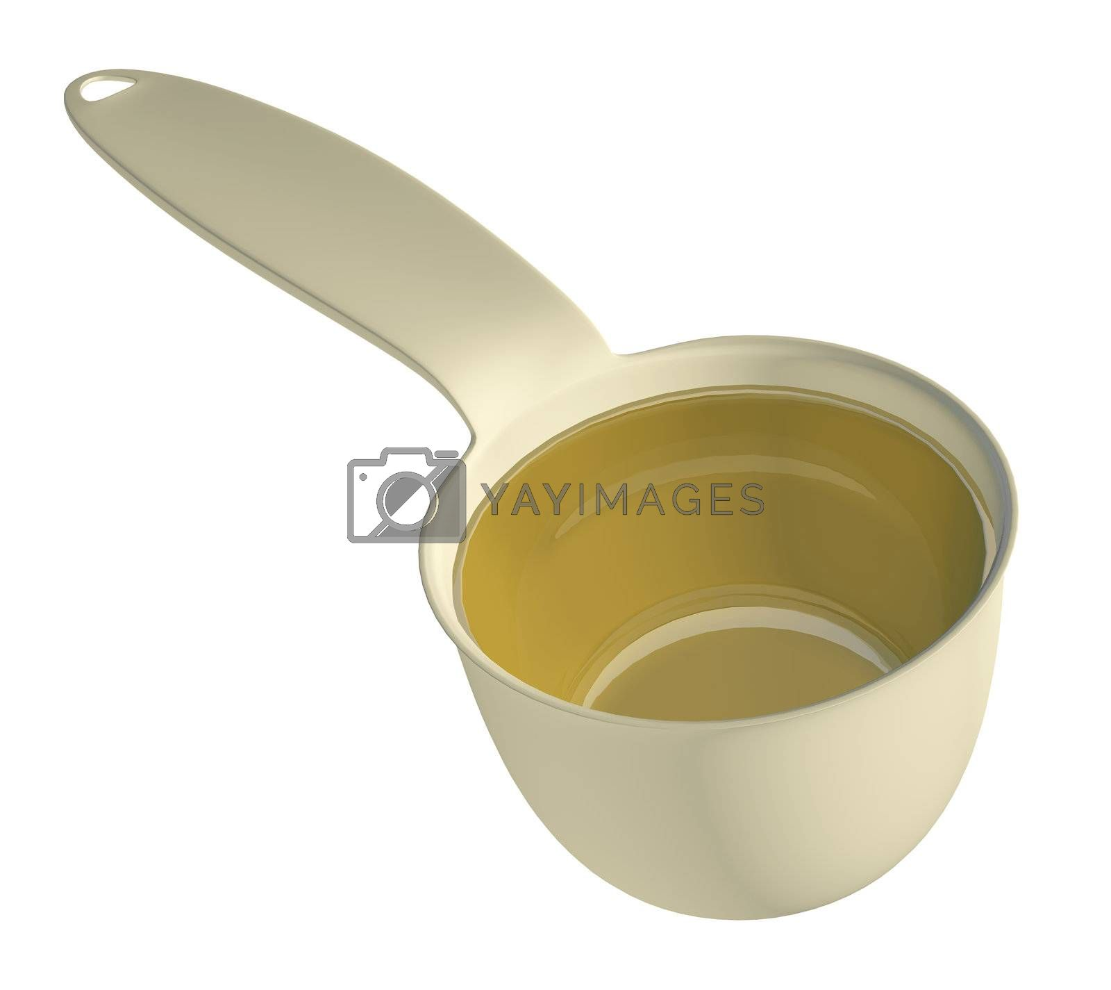 Yellow or gold kitchen measure tool, 3d illustration, isolated against a white background
