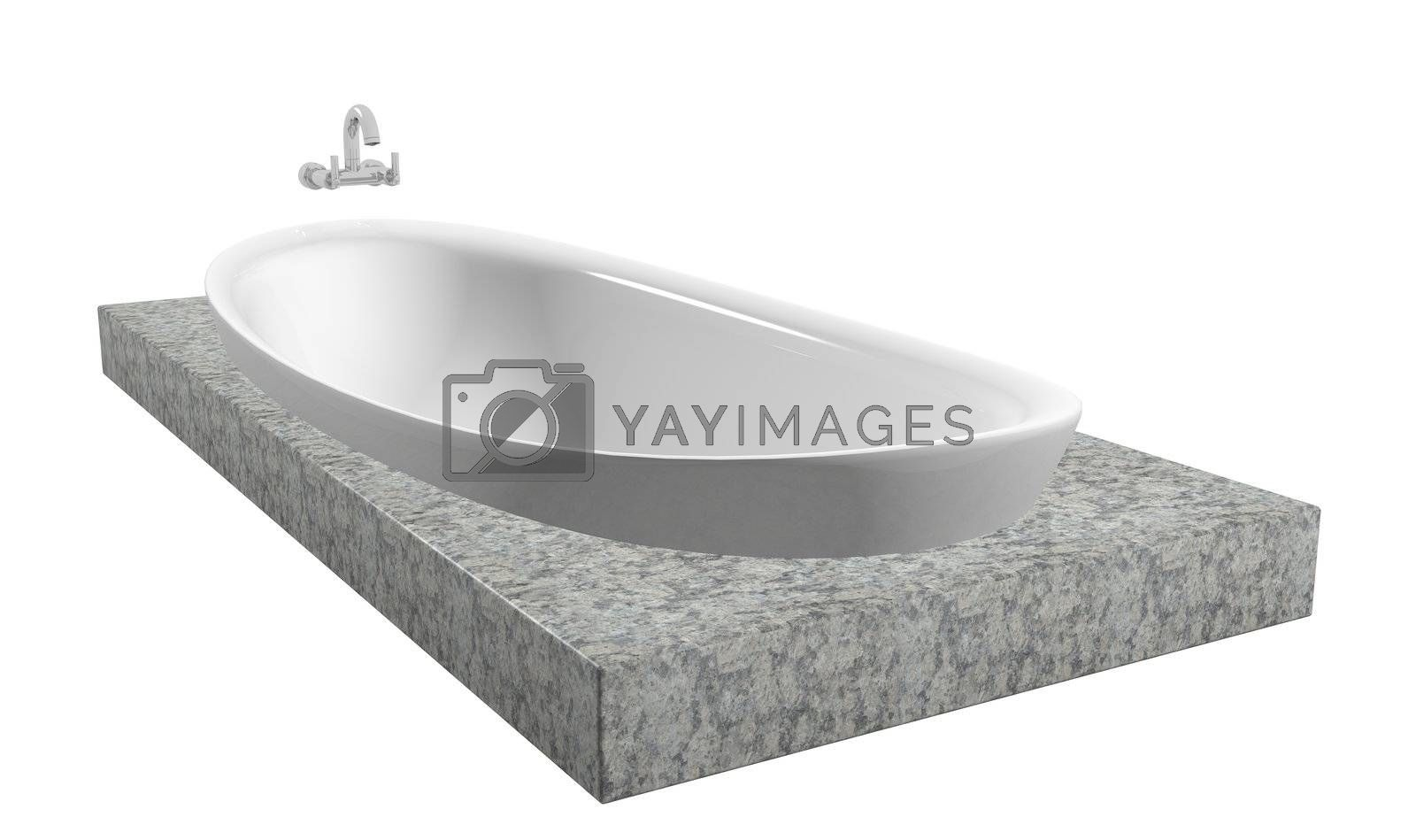 White oval bath with chrome faucet, sitting on a granite slate, isolated against a white background