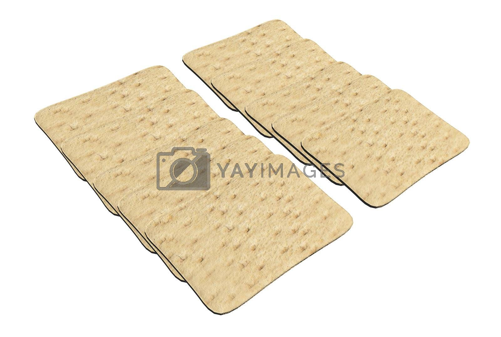 Set of rectangular wheat crackers, 3d illustration, isolated against a white background