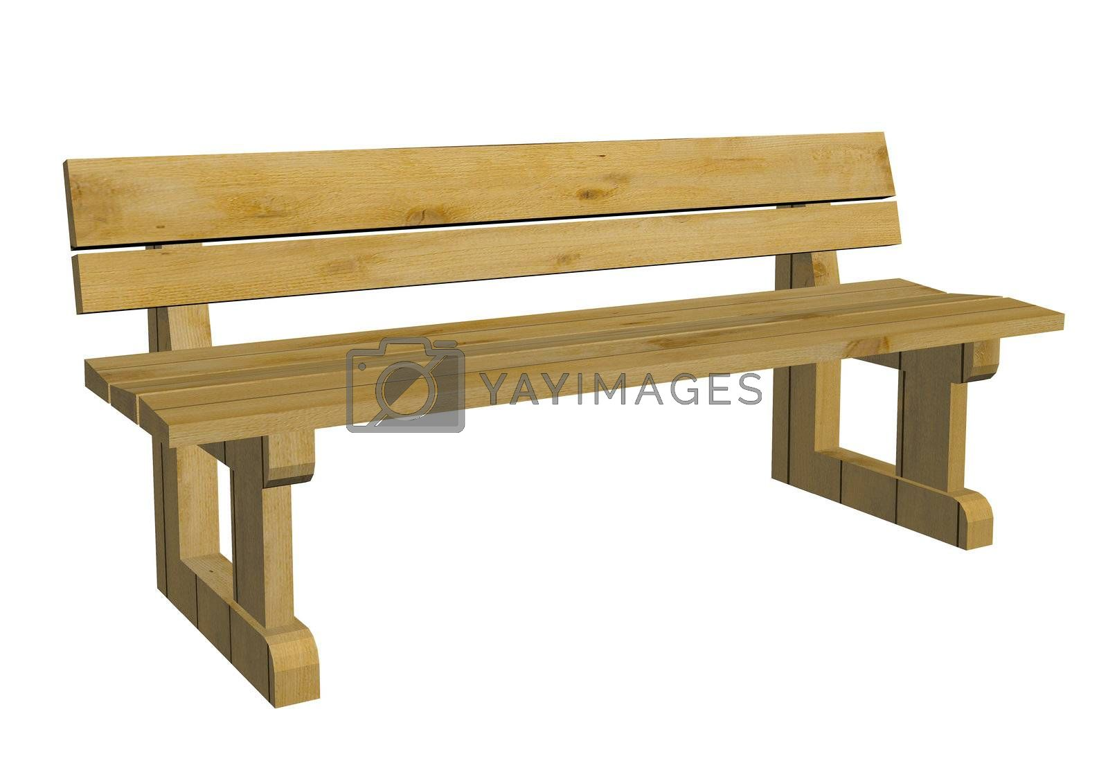 Wooden park or outdoor bench, 3d illustration, isolated against a white background