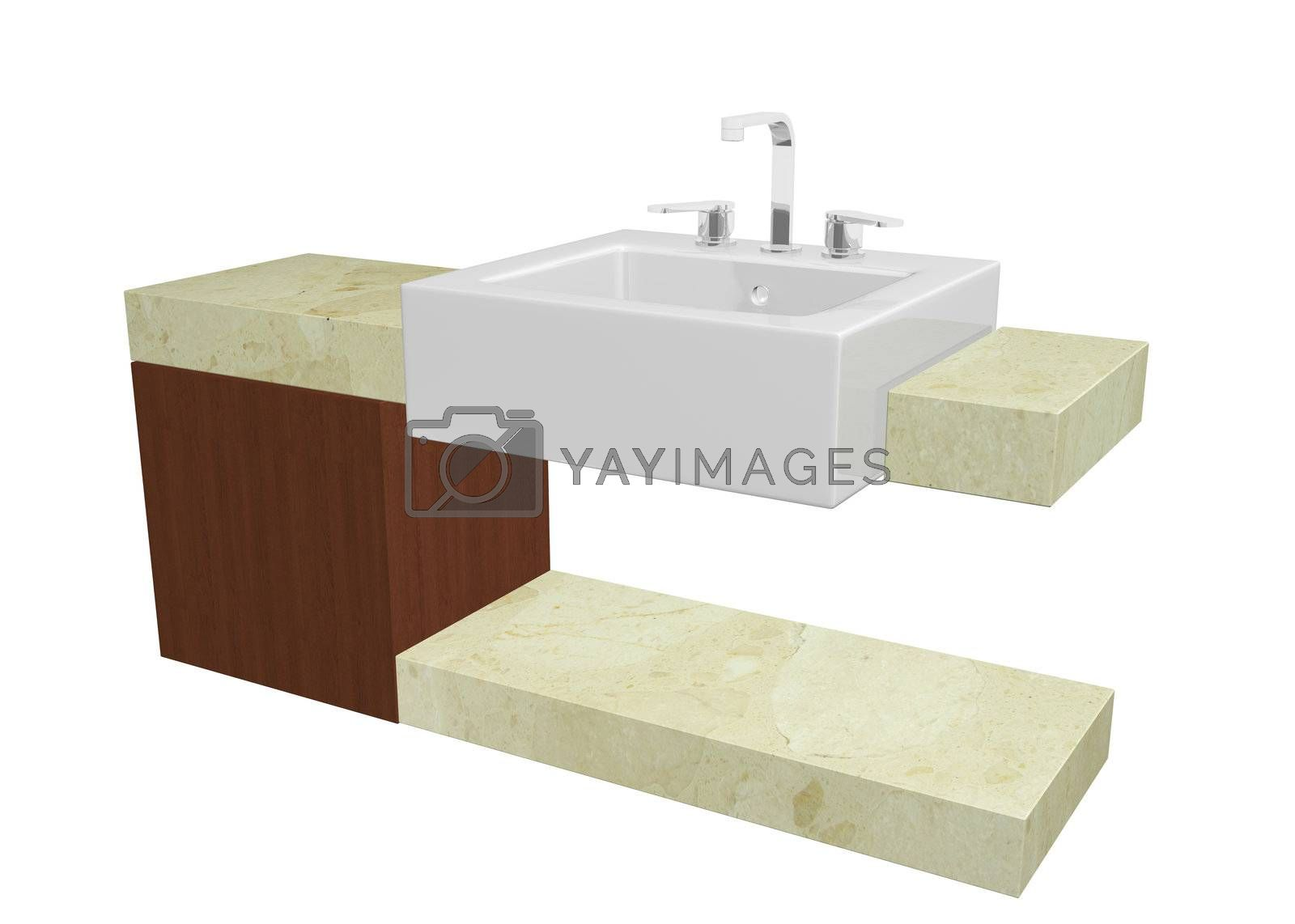 White square sink with chrome faucet, sitting on a marble table or countertop with a mohagany wooden cabinet, isolated against a white background