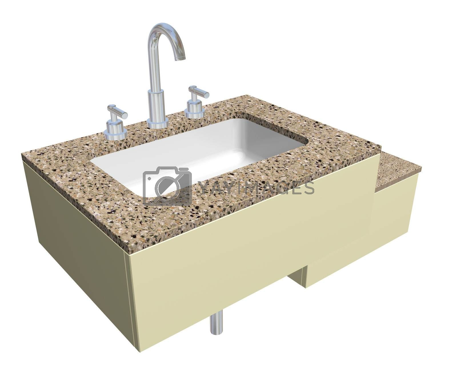 White built-in square bathroom sink with chrome faucet and plumbing fixtures, with a granite countertop, isolated against a white background.