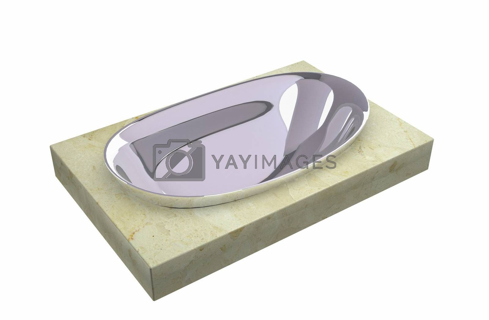 Chrome soap holder sitting on a granite slab, isolated against a white background.
