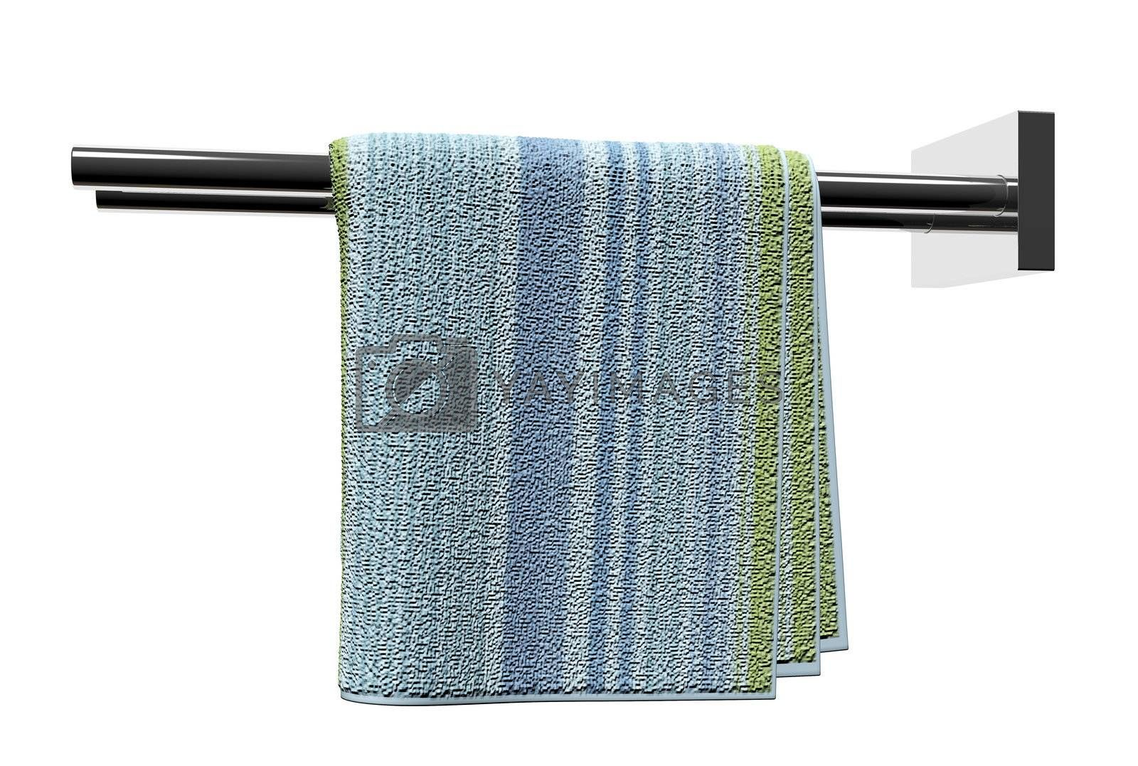 Chrome towel holder rods, with a cotton bathroom towel, isolated against a white background