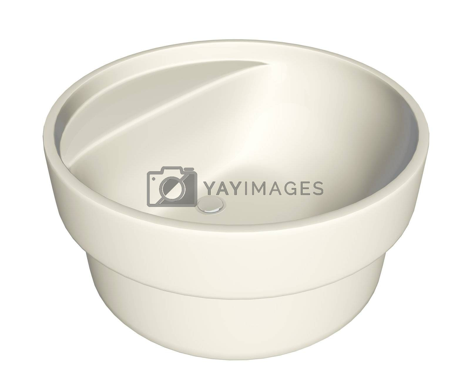 Modern cream-colored washbasin or sink with plumbing fixture, isolated against a white background.