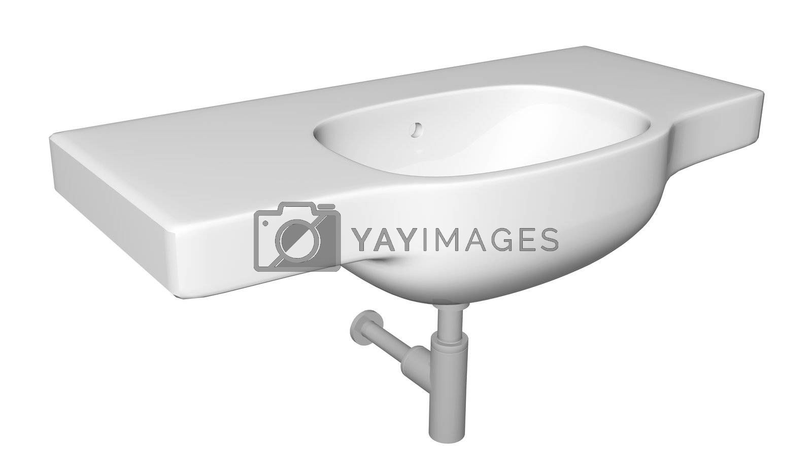 Modern washbasin or sink with faucet and plumbing fixtures, isolated against a white background.