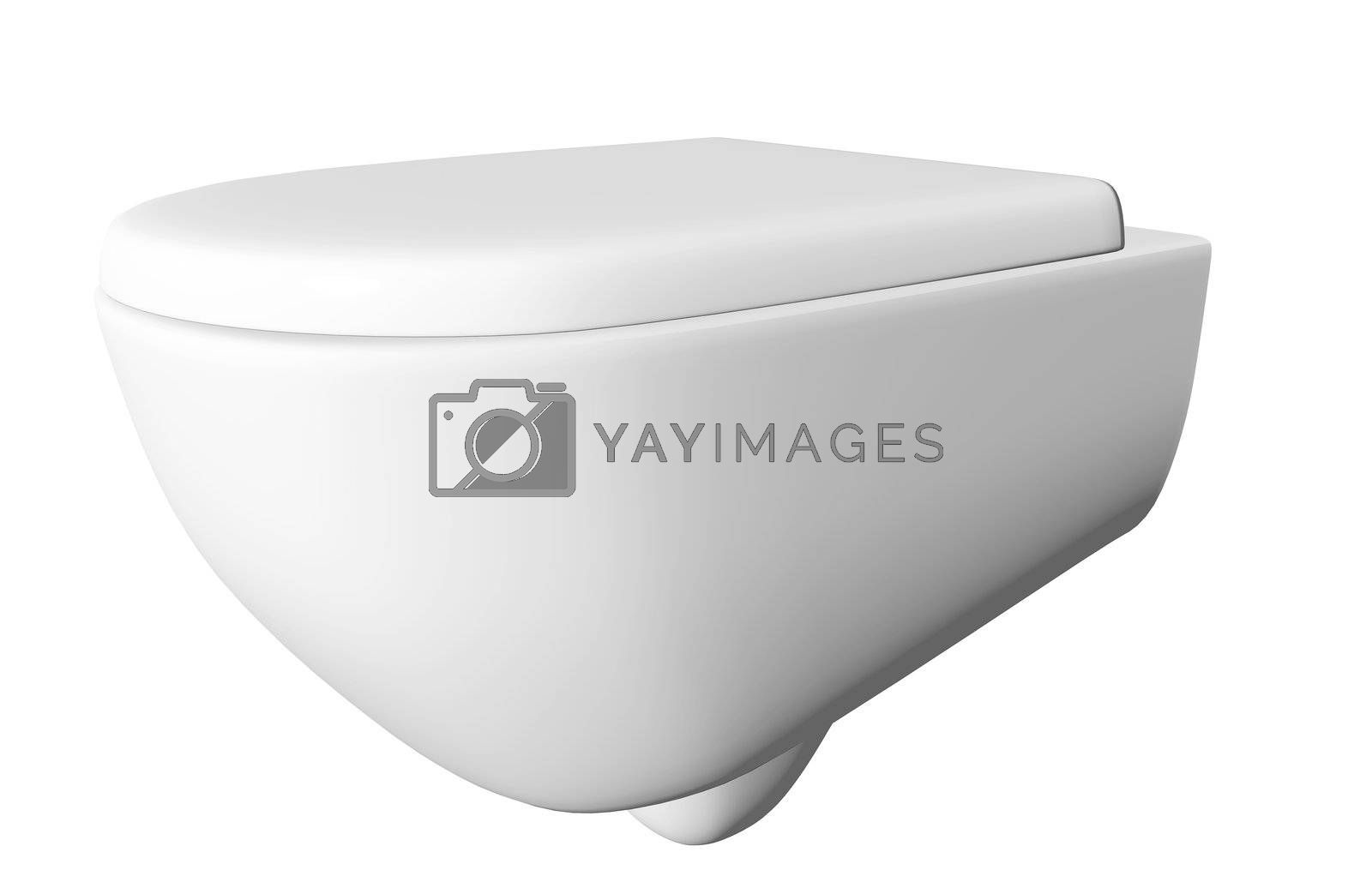 Modern white ceramic and acrylic toilet bowl and lid, isolated against a white background. 3D illustration
