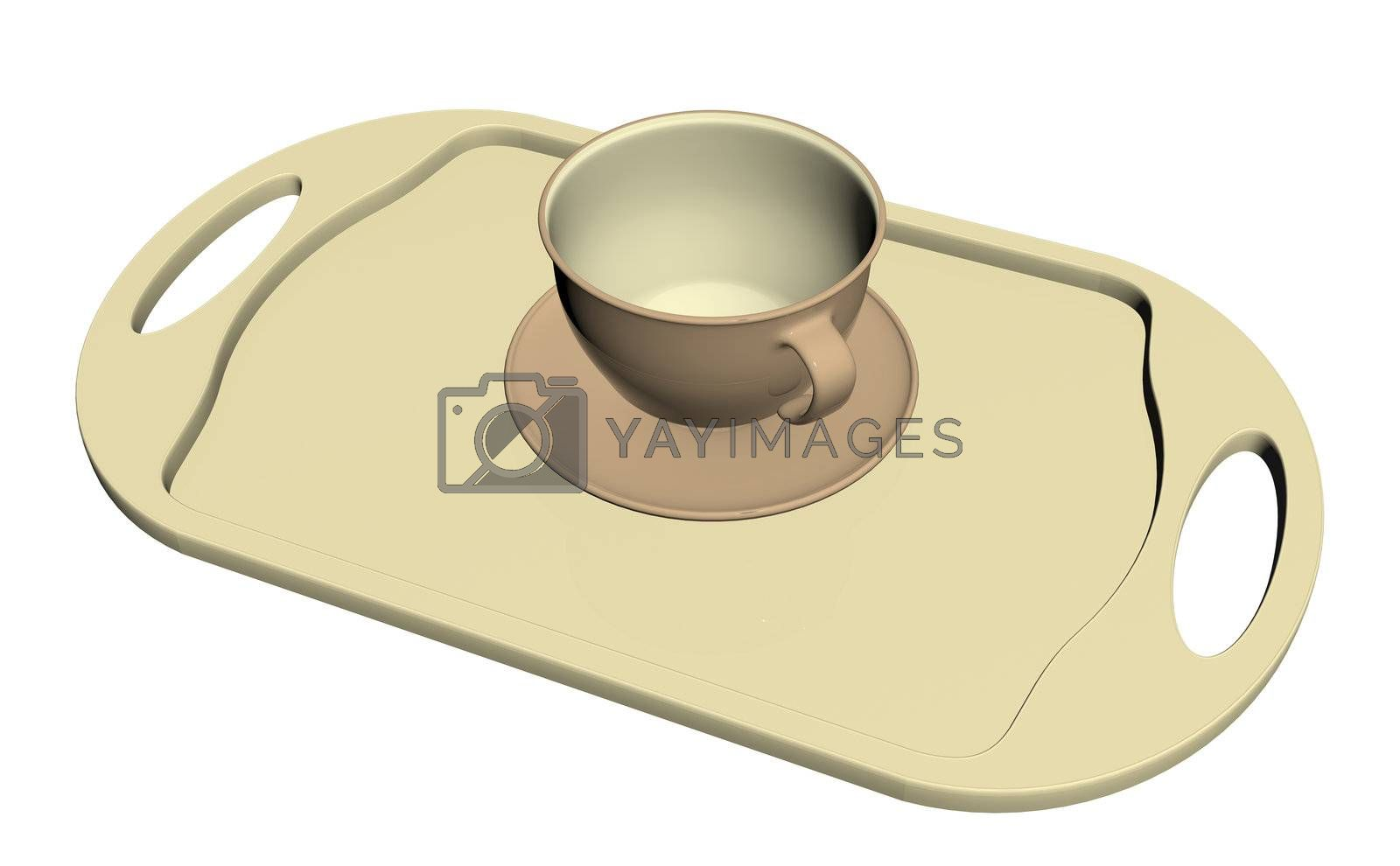 Teacup and dish on a cream colored platter, isolated against a white background