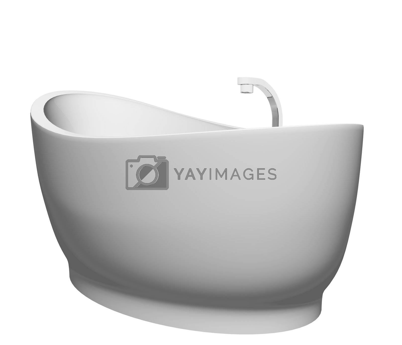 Pedestal modern white bathtub with stainless steel fixtures, isolated against a white background