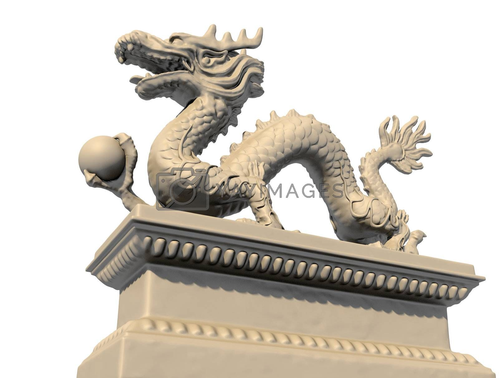 White Chinese dragon statue holding a ball in his claws, isolated against a white background. Bottom view 3D image.